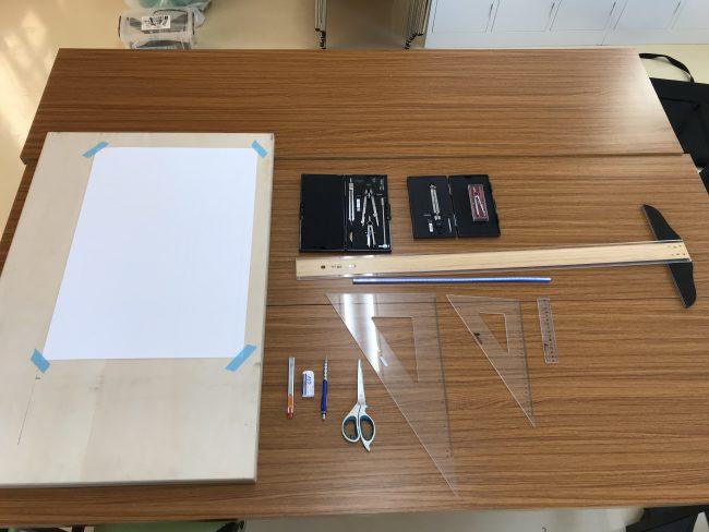 長野県一級建築板金技能士 建築板金技能試験に必要な道具です=製図作成=